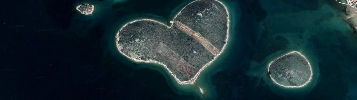 Insel Galešnja Herzinsel von oben