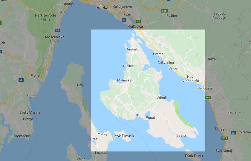 Insel Krk Karte